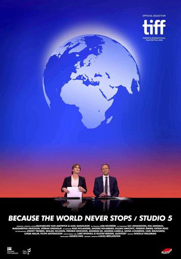 Studio 5 filmaffisch med jordglob och två nyhetsreportrar