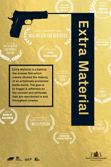 Filmaffisch med pistol till filmen Extra Material med ljudproduktion av Auditory