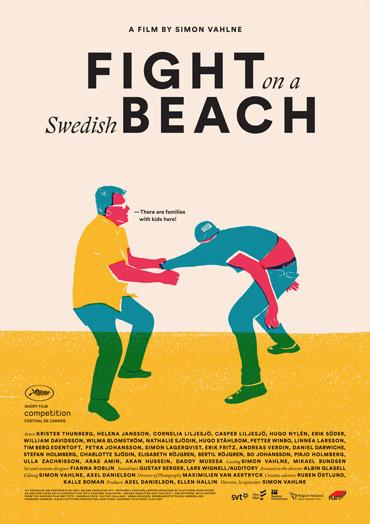 Tecknad gul filmaffisch till filmen Fight on a Swedish beach med ljudproduktion av Auditory