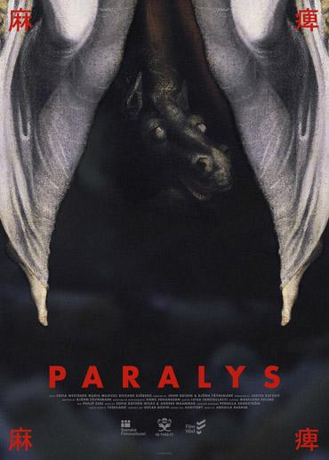 Svart och röd poster till skräckfilmen Paralys